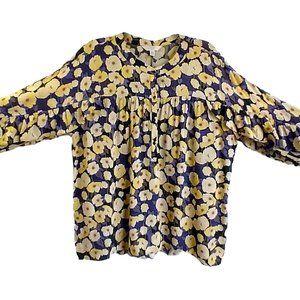 LC Lauren Conrad Floral Ruffled Sleeve Blouse